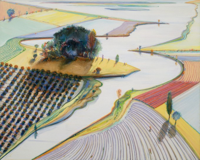 Wayne Thiebaud city river mountain 1996